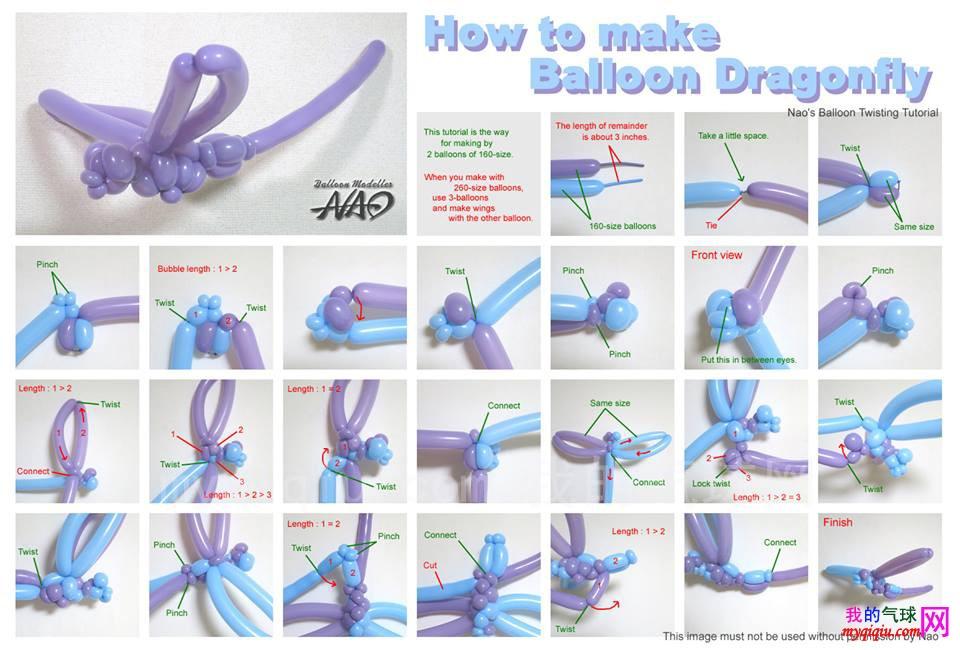 蜻蜓魔术气球造型教程图解-难度中级